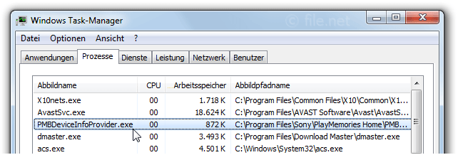 Windows Task-Manager mit PMBDeviceInfoProvider