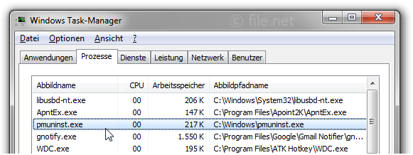 Windows Task-Manager mit pmuninst