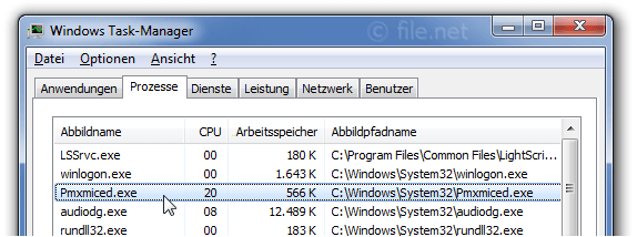 Windows Task-Manager mit pmxmiced
