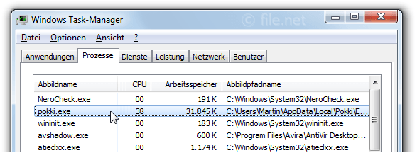 Windows Task-Manager mit pokki