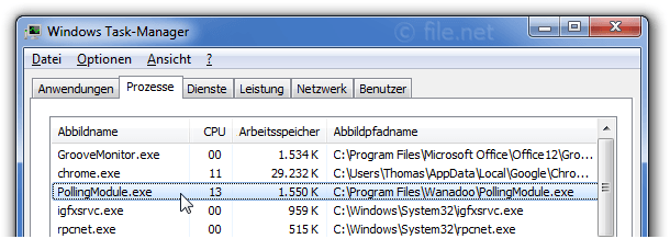 Windows Task-Manager mit PollingModule