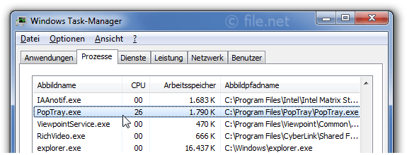Windows Task-Manager mit PopTray
