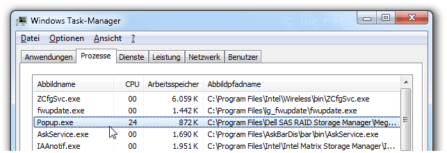Windows Task-Manager mit Popup
