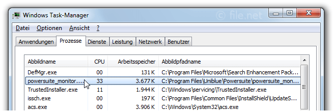 Windows Task-Manager mit powersuite_monitor