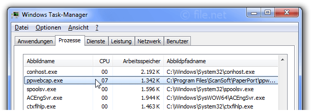 Windows Task-Manager mit ppwebcap