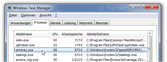 Windows Task-Manager mit printray