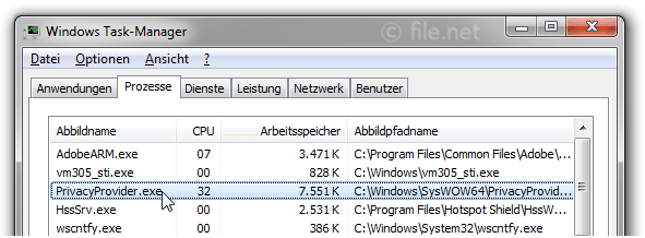 Windows Task-Manager mit PrivacyProvider