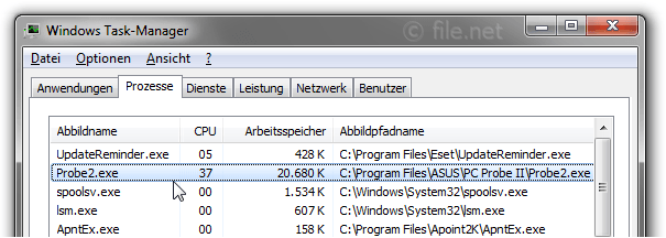 Windows Task-Manager mit Probe2