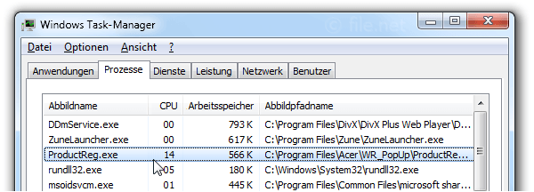Windows Task-Manager mit ProductReg