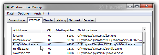 Windows Task-Manager mit ProgDvbService