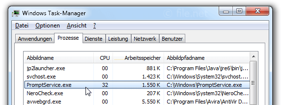 Windows Task-Manager mit PromptService