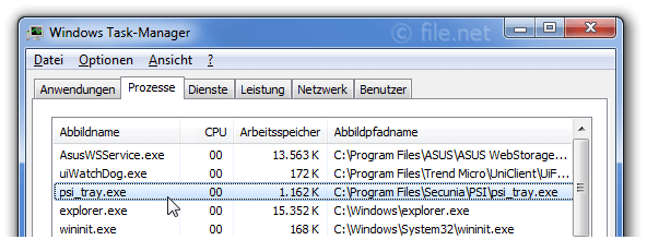 Windows Task-Manager mit psi_tray