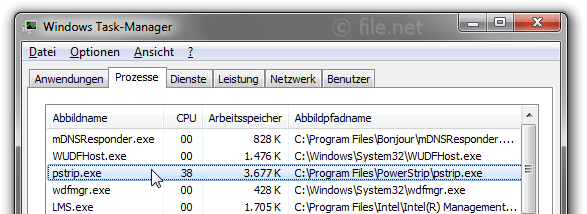 Windows Task-Manager mit pstrip