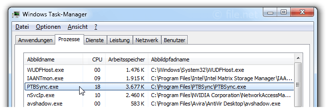 Windows Task-Manager mit PTBSync