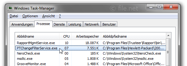Windows Task-Manager mit PTChangeFilterService
