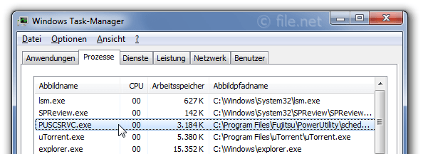Windows Task-Manager mit PUSCSRVC
