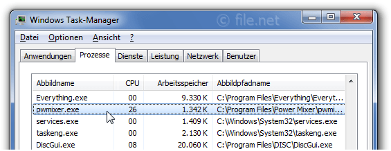 Windows Task-Manager mit pwmixer