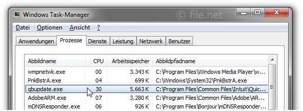 Windows Task-Manager mit qbupdate