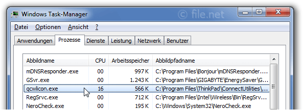 Windows Task-Manager mit qcwlicon
