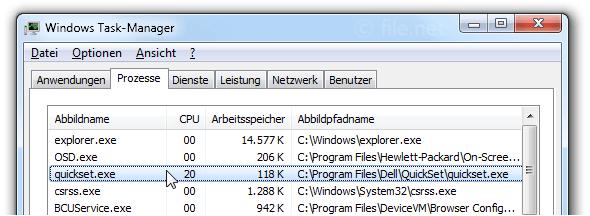 quickset.exe Windows Prozess - Was ist das?