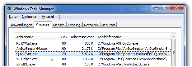 Windows Task-Manager mit QuickSync