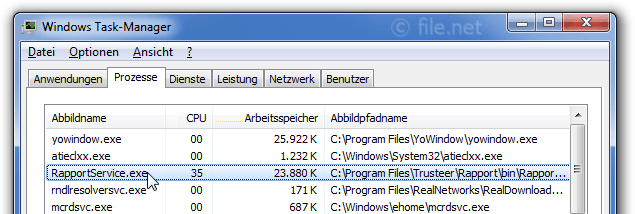 Windows Task-Manager mit RapportService