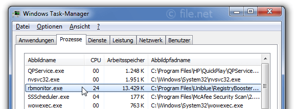 Windows Task-Manager mit rbmonitor