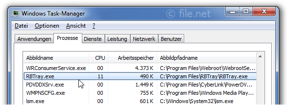 Windows Task-Manager mit RBTray