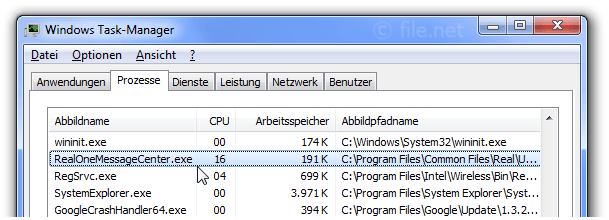 Windows Task-Manager mit RealOneMessageCenter