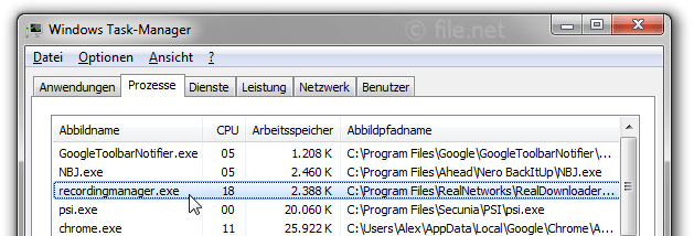 Windows Task-Manager mit recordingmanager