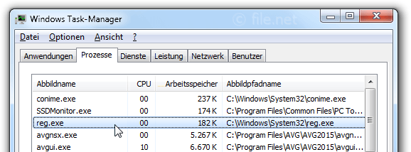 Windows Task-Manager mit reg
