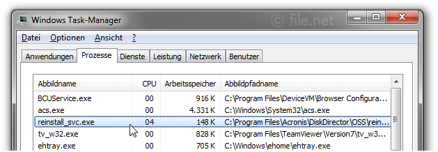 Windows Task-Manager mit reinstall_svc