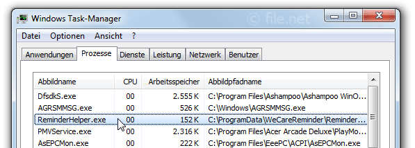 Windows Task-Manager mit ReminderHelper