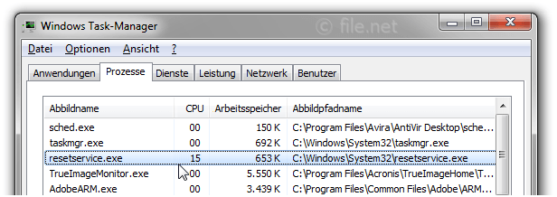 Windows Task-Manager mit resetservice