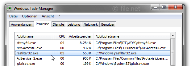 Windows Task-Manager mit resfilter32
