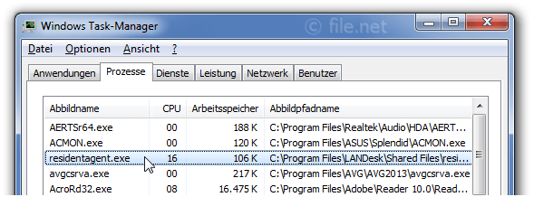 Windows Task-Manager mit residentagent