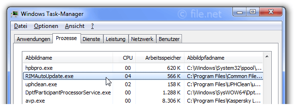 Windows Task-Manager mit RIMAutoUpdate