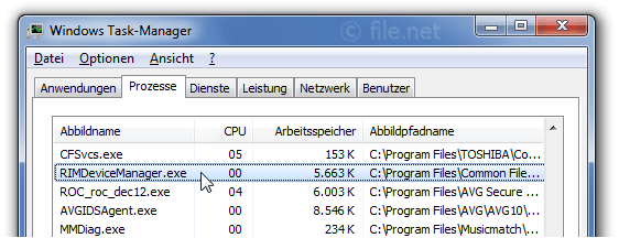 Windows Task-Manager mit RIMDeviceManager