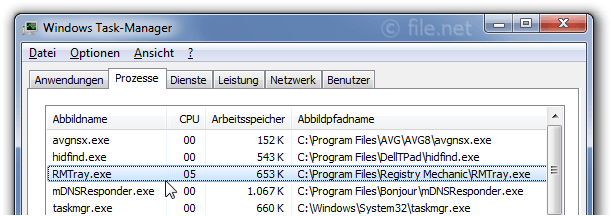 Windows Task-Manager mit RMTray