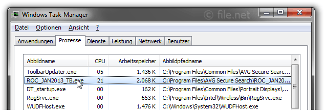 Windows Task-Manager mit ROC_JAN2013_TB