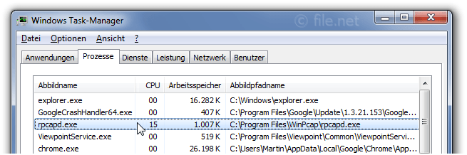 Windows Task-Manager mit rpcapd