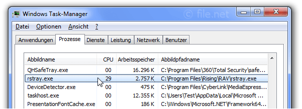 Windows Task-Manager mit rstray