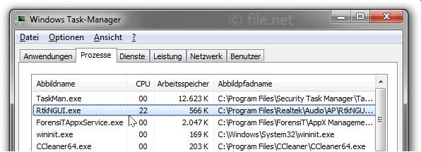 Windows Task-Manager mit RtkNGUI