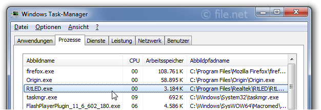 Windows Task-Manager mit RtLED