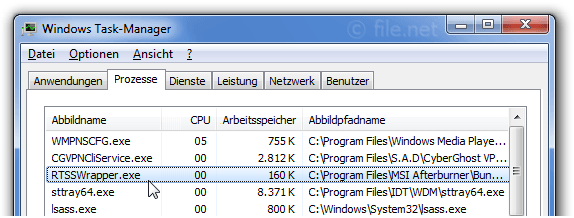 Windows Task-Manager mit RTSSWrapper