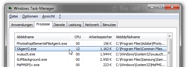 Windows Task-Manager mit SAgent2