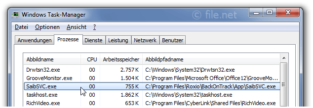 Windows Task-Manager mit SaibSVC
