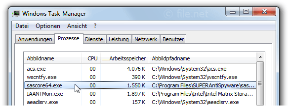 Windows Task-Manager mit sascore64