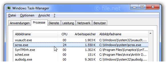 Windows Task-Manager mit scrss