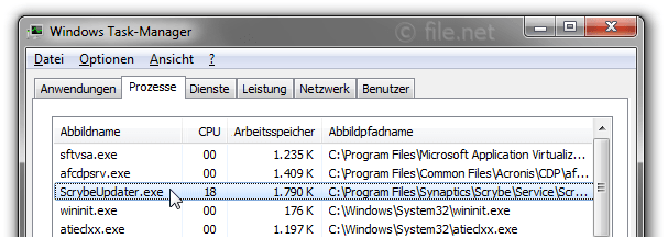 Windows Task-Manager mit ScrybeUpdater